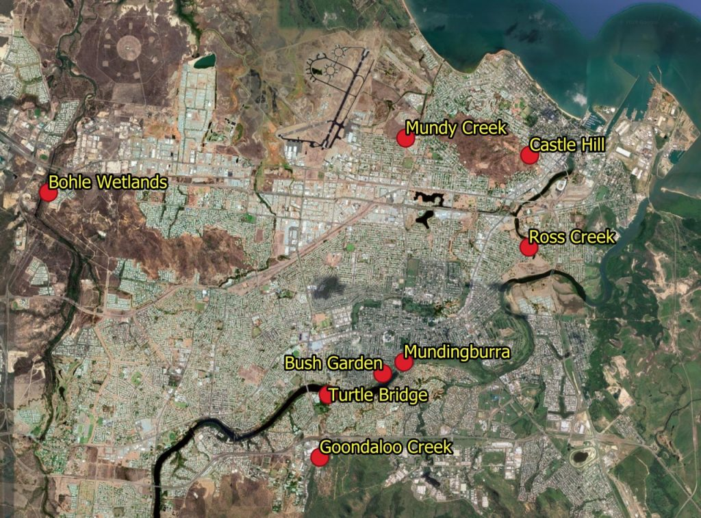 Aerial view of Landcare sites near Townsville